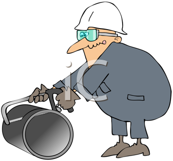 Royalty Free Clipart Image of a Man Hacking Pipe