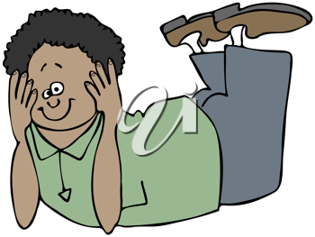 Royalty Free Clipart Image of a Person Lying on His Stomach