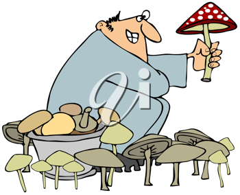 Royalty Free Clipart Image of a Man Picking Mushrooms