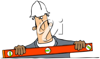 Royalty Free Clipart Image of a Man With a Level