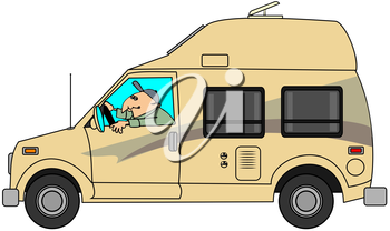 Royalty Free Clipart Image of a Man Driving a Small Motor Home