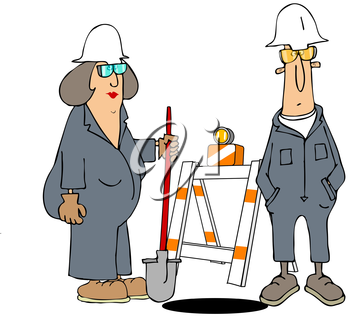 Royalty Free Clipart Image of a Man and Woman Doing Road Work