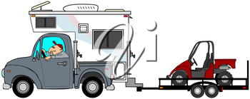 Royalty Free Clipart Image of a Truck Pulling a Dune Buggy