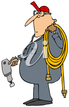 Royalty Free Clipart Image of a Man Carrying a Hose and Impact Wrench
