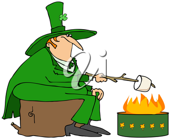 Royalty Free Clipart Image of a Leprechaun Roasting a Marshmallow