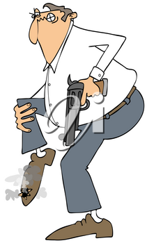 Royalty Free Clipart Image of a Man Shooting Himself in the Foot