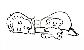 Royalty Free Clipart Image of a Baby Sleeping with a Teddy Bear