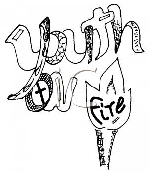 Royalty Free Clipart Image of the Words Youth on Fire