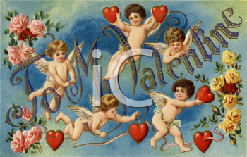 Royalty Free Clipart Image of Cherubs and Hearts on a Valentine's Card