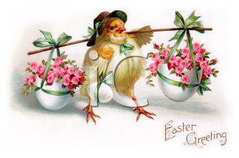 Royalty Free Clipart Image of an Easter Greeting With a Baby Chicken and Baskets of Flowers
