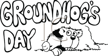 Royalty Free Clipart Image of a Groundhog's Day Sign