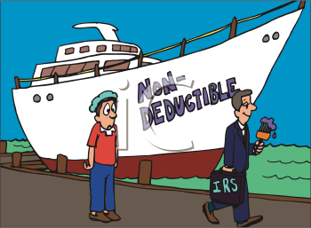Royalty Free Clipart Image of the IRS Painting a Boat as Non-Deductible
