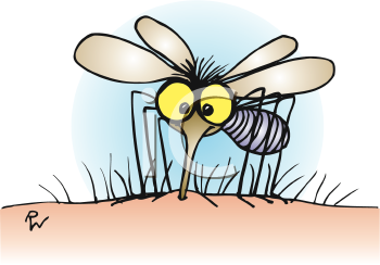 Royalty Free Clipart Image of a Mosquito Biting an Arm