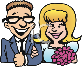 Royalty Free Clipart Image of a Newly Married Couple