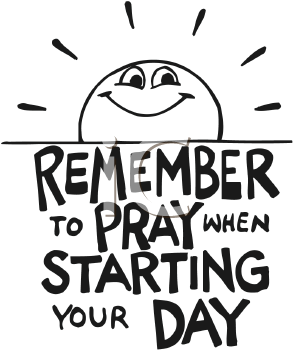 Royalty Free Clipart Image of a Prayer Sign