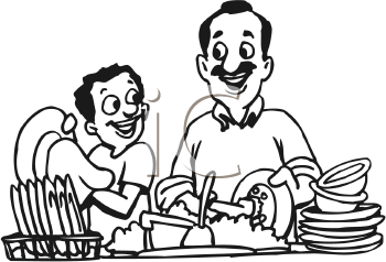 Royalty Free Clipart Image of a Father and Son Washing Dishes