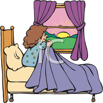 Royalty Free Clipart Image of a Girl Watching the Sunrise