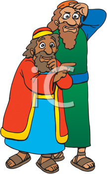 Royalty Free Clipart Image of Two Men Looking at Something