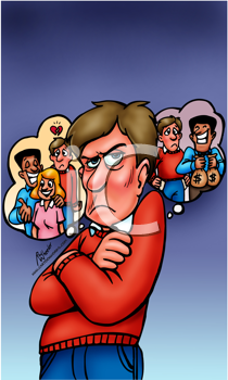 Royalty Free Clipart Image of an Envious Man