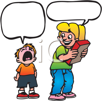 Royalty Free Clipart Image of a Girl With a Book and a Crying Boy Under Speech Bubbles