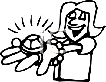 Royalty Free Clipart Image of a Woman With a Big Engagement Ring