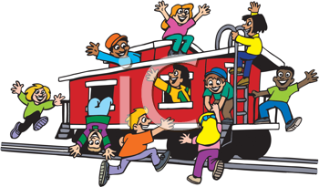 Royalty Free Clipart Image of Kids Playing on a Railway Car
