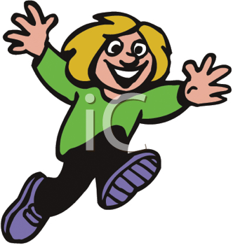 Royalty Free Clipart Image of a Child Runnin