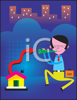 Royalty Free Clipart Image of a Man With a Flute Beside a House