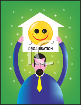 Royalty Free Clipart Image of a Man Holding a Building With a Happy Face