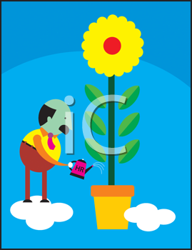 Royalty Free Clipart Image of a Man Watering a Plant
