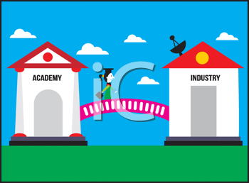 Royalty Free Clipart Image of a Graduate Moving From an Academy to an Industry