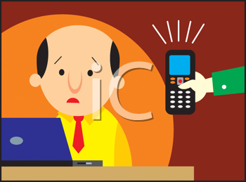 Royalty Free Clipart Image of a Man Being Handed a Cellphone