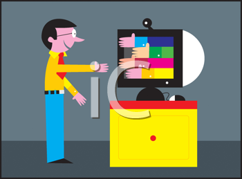 Royalty Free Clipart Image of a Man Shaking Hands With a Computer
