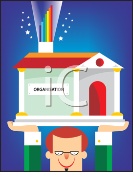 Royalty Free Clipart Image of a Man Holding a Building With the Word Organization