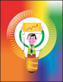 Royalty Free Clipart Image of a Man Holding Up a Chart