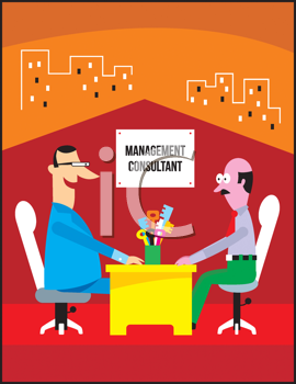 Royalty Free Clipart Image of Two Men in an Office