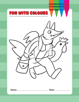 Royalty Free Clipart Image of a Fox With a Chicken