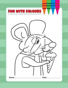 Royalty Free Clipart Image of a Mouse Eating Ice Cream Colouring Page