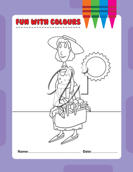 Royalty Free Clipart Image of a Colouring Page of a Woman With a Basket of Food