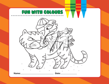 Royalty Free Clipart Image of a Colouring Page of a Boy on a Tiger