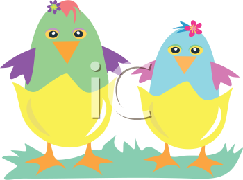 Royalty Free Clipart Image of Two Chicks
