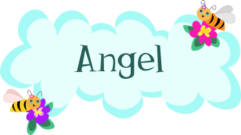 Royalty Free Clipart Image of a Name Tag For Angel