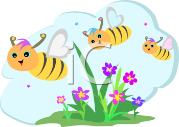Royalty Free Clipart Image of a Trio of Bees