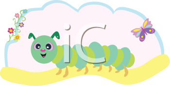 Royalty Free Clipart Image of a Caterpillar and Butterfly