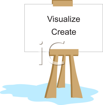 Royalty Free Clipart Image of an Easel with the Words Visualize and Create