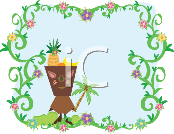 Royalty Free Clipart Image of a Tiki and Palm Tree in a Frame
