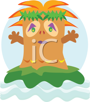 Royalty Free Clipart Image of a Tiki Head