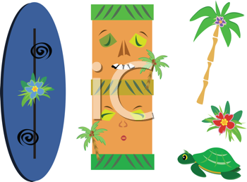 Royalty Free Clipart Image of an Assortment of a Polynesian Mix With Tiki, Surfboard, Palm Tree, Flower and Turtle