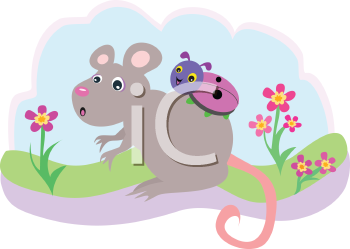 Royalty Free Clipart Image of a Mouse With a Bug Riding On Its Back
