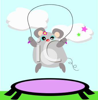 Royalty Free Clipart Image of a Mouse Jumping Rope on a Trampoline